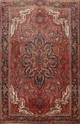 Vintage Red Traditional Area Rug Hand-knotted Oriental Dining Room Carpet 10x13