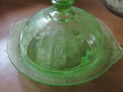 Anchor Hocking Cameo Ballerina Green Butter Dish With Lid Depression Glass