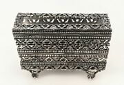 Italian 925 Sterling Silver Handcrafted Ornate Chased Filigree Matchbox On Legs
