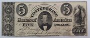 1861 Confederate T34 5 Note - Good Eye Appeal Hammer Cancelled Repaired.