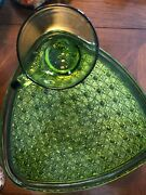 Huge Set Indiana Glass Daisy And Button Green Triangle Snack Set Tray Cup 36 Pcs