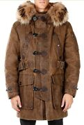 Incredible 6000 New W/tags Dsquared2 Waxed Canvas And Fur Parka Jacket 46 S