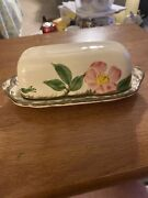 Very Rare Franciscan Desert Rose Butter Dish No Finial Mint 33 Made In The Usa