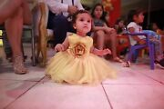 Princess Belle Baby Girl Dress First 1st Birthday Party Wedding Gown Beauty Beas