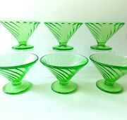 Six Federal Diana Green Swirl Sherbet Dishes Vintage 1930and039s Green Glass Sherbets