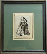 Antique 1600s 17th/18th Century Old Masters Drawing Beggar Pauper Woman Crutches