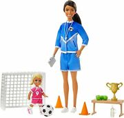 Barbie Soccer Coach Playset With Brunette Soccer Coach Doll, Student Doll And Ac
