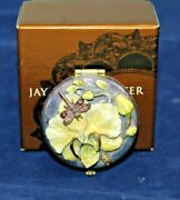 Jay Strongwater Small Round Enamel / Dragonfly Floral Mirror Compact