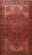 Vintage Geometric Traditional Area Rug Hand-knotted Oriental Red Carpet 9and039x13and039