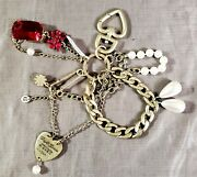 Juicy Couture Bag Key Fob Chain Pin Heart Jewel Charms Pearl Beads Crystal