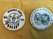 Wounded Knee/political Button And Mohawk Aim Pin Back Button 1973