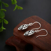 Wedding Fine Jewelry Leaf Shape Special Antique Earrings Solid 18k White Gold