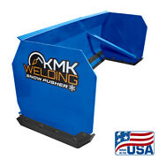 6and039-10and039 Blue Skid Steer Snow Pusher Bobcat/kubota/commercial Grade/quick Attach