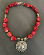 Coral Necklace | Indonesian Silver | Tribal | Pewter | Southwest | Boho Jewelry