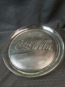 Vintage 1990's Coca Cola Logo 13 Round Clear Glass Serving Bar Tray Platter
