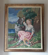 Antique Needle Work Hand Embroidery Large Picture Girl With Goat Framed.