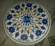 48 Marble Coffee Table Top Lapis Lazuli Floral Inlay Patio Table Home Decor