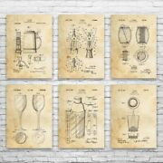 Bar Pub Patent Posters Set Of 6 Brewing Gift Beer Wall Art Oktoberfest Decor