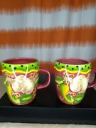 Lot Of 2 Gates Ware Laurie Gates Coffee Mugs Cups Leaves Fruit And Vegetables