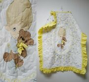Precious Moments . Little Boy With His Teddy Bear Ruffled Quilted Baby Blanket