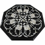 36 Black Marble Coffee Dining Table Top Semi Precious Stones Mop Inlaid Work