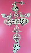 Vintage Brass Byzantine Cross W Agent Symbols Wall Hanging Candle Holder 22+