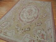8x10 French Aubusson Design Oriental Area Rug Beige Gray Rust Floral