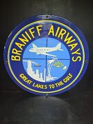 Vintage Braniff Airlines Porcelain Sign 11 3/4andrdquo Great Lakes To The Gulf Airlines