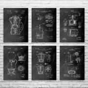 Coffee Patent Posters Set Of 6 Kitchen Decor Coffee Shop Art Barista Gift
