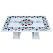 Marble Inlay Coffee Table Rectangular White Center Table For Living Room