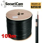 Rg59 + 2 Shotgun 2 Core Cable Reel Black Dvr Video Coax Cctv Video And Power Wire