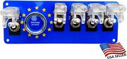 12v Switch Panel Eu Flag Push Start Clear Covers 5 White Led Toggle Switches