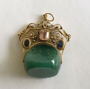 Antique 14k Victorian Watch Fob/drop With Multi Colored Stones
