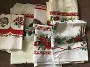 Vintage Lot Christmas Tablecloths W Holly Trees Sleds Ornaments Candy Canes Etc