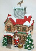 Home Interiors Christmas Snow Cottage W/santa And Reindeer F/votive Candle Holder