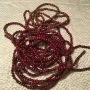 Vintage Cranberry Red Wood Bead Christmas Tree Garland And Red/green Wood Bead