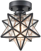 Axiland Moravian Star Light Flush Mount Ceiling Light With Seeded Glass Shade