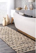 Nuloom Adeline Lattice Jute Runner Rug 2and039 6 X 8and039 Natural