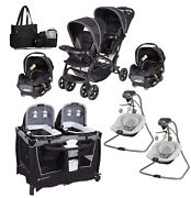 Baby Twins Combo Set Double Stroller With 2 Car Seats Nursery Crib 2 Swings Bag