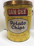 """Vtg Rare 3 Lb Dan Dee Potato Chip Advertising Tin Canister Can 15""""cleveland 1960"""