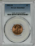 2003-d Pcgs Ms69rd Lincoln Cent