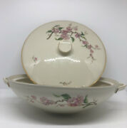 Vintage Handc Bavaria Cherry Blossom Covered Dish U.s. Air Force Pattern Stamped
