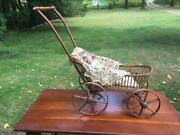 Antique Ornate Bentwood Baby Doll Carriage Wooden Buggy Pram Lovely German Doll