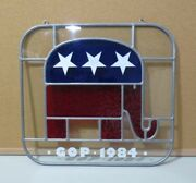Vtg Gop 1984 Republican Election President Reagan Stained Hanging Glass P2830