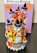 Fitz And Floyd Winter Kitty Witches Musical Figurine 2002 Nib