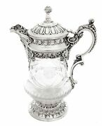 Portugues Crystal And .925 Sterling Silver Water Pitcher
