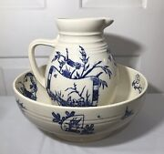 Antique 19c Copeland Spode Flow Blue Aesthetic Chinoiserie Pitcher And Basin Bowl