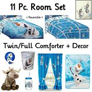 Disney Frozen Olaf 11pc Room Twin/full Comforter-drapes-throw-wall Decals-more