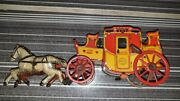 Old Vintage Tin Wind Up Orobr Co. Horse Bus Carriage Toy From Germany 1930