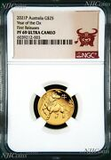 2021 P Australia Proof Gold 25 Lunar Year Of The Ox Ngc Pf69 1/4 Oz Coin Fr